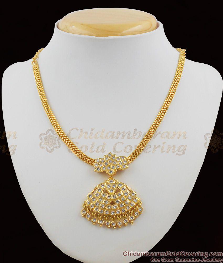 Grand White Stone Dollar Impon Attigai Gold Plated Necklace Five Metal Jewellery NCKN1128