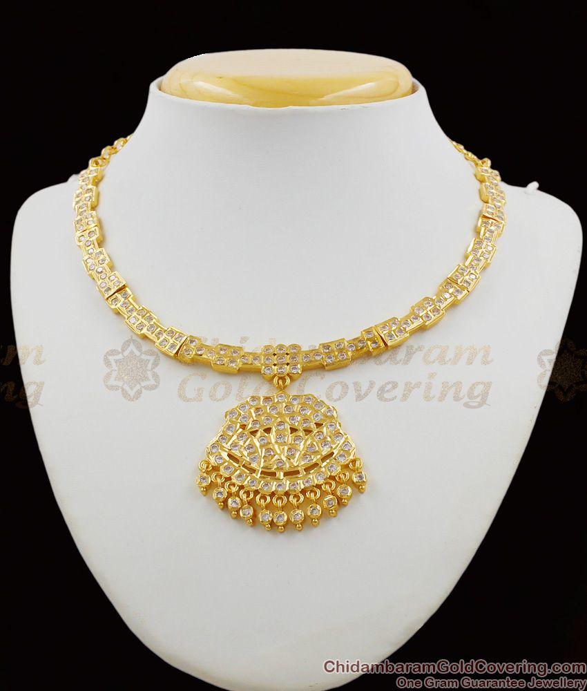 Gati Metal Panchaloga Attigai Gold Design White Stone Impon Choker Dollar NCKN1178