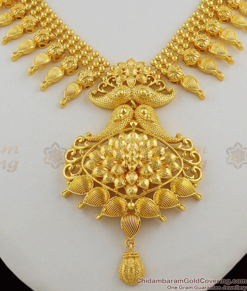 Plain Fancy Design Gold Inspired Big Dollar Kerala Bridal Necklace Collection NCKN1217