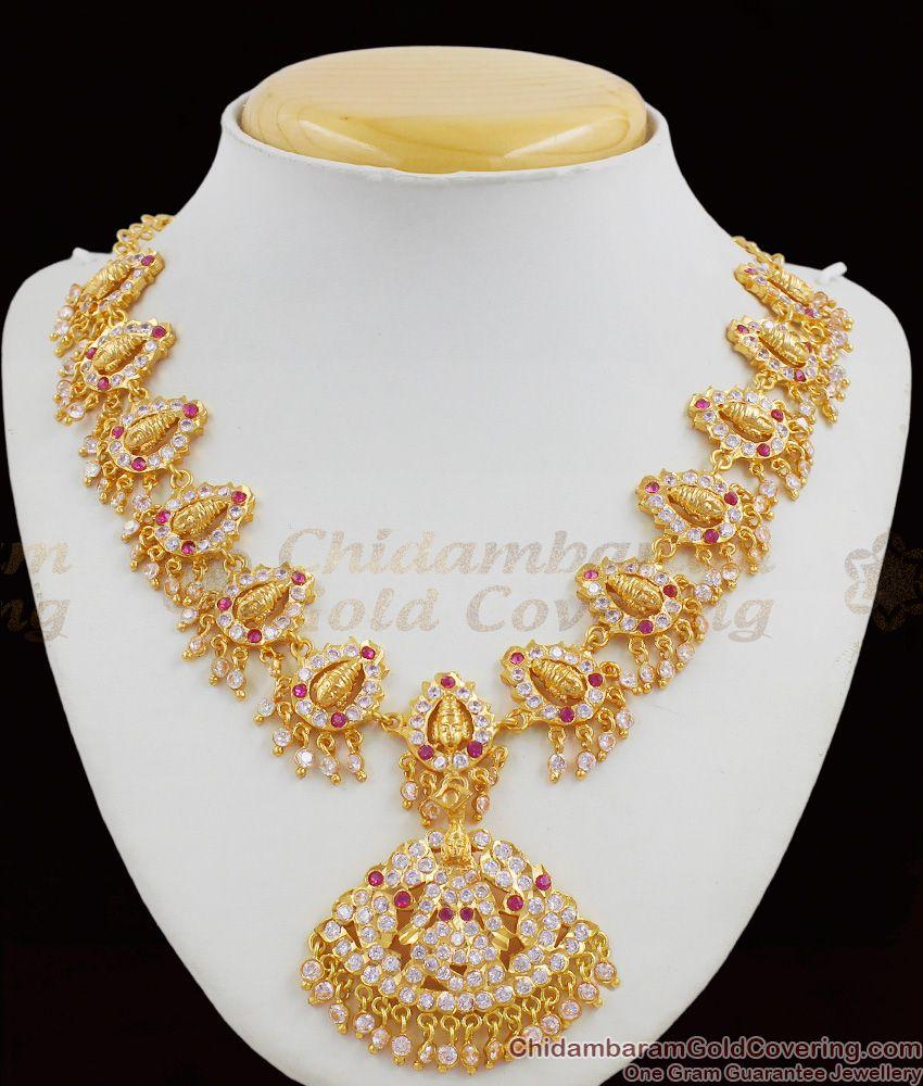 Lakshmi Pattern Grand Full White And Pink Gati Stones Gold Ayimpon Attigai For Womens NCKN1269