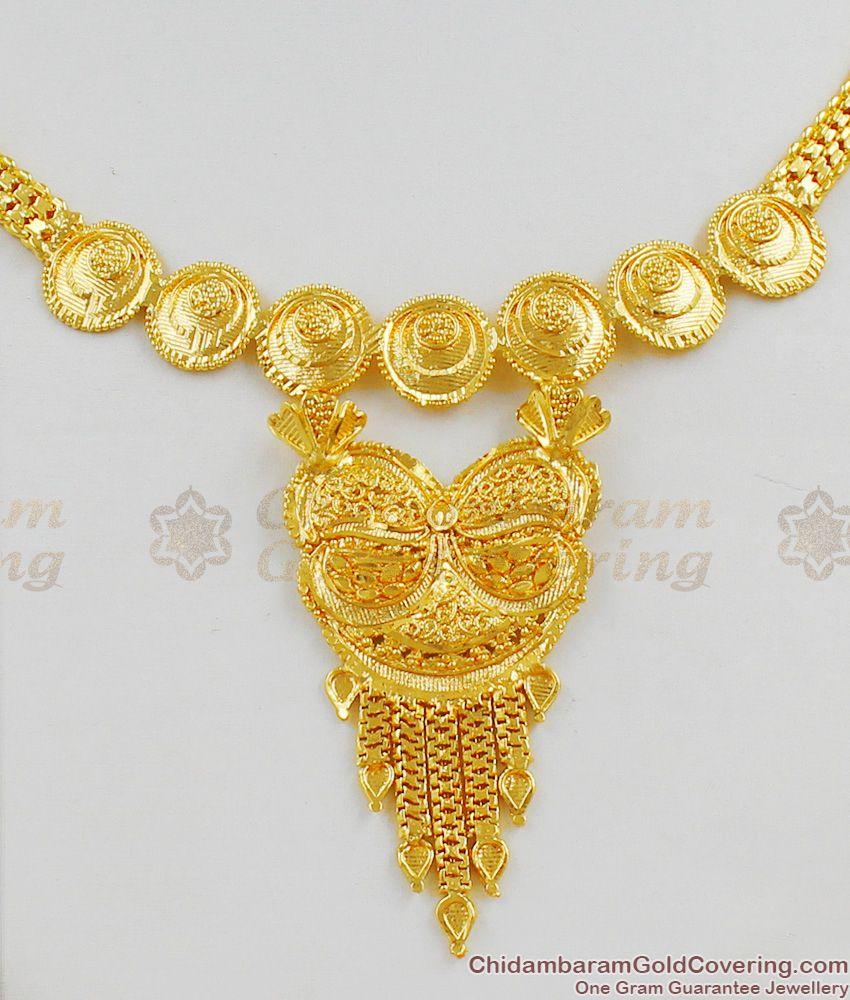 Calcutta Design Pure Gold Short Necklace Bridal Wear Jewellery For Ladies Online NCKN1280