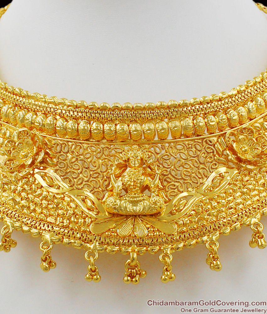 Grand Lakshmi Temple Jewelry Design Gold Choker Necklace NCKN1303