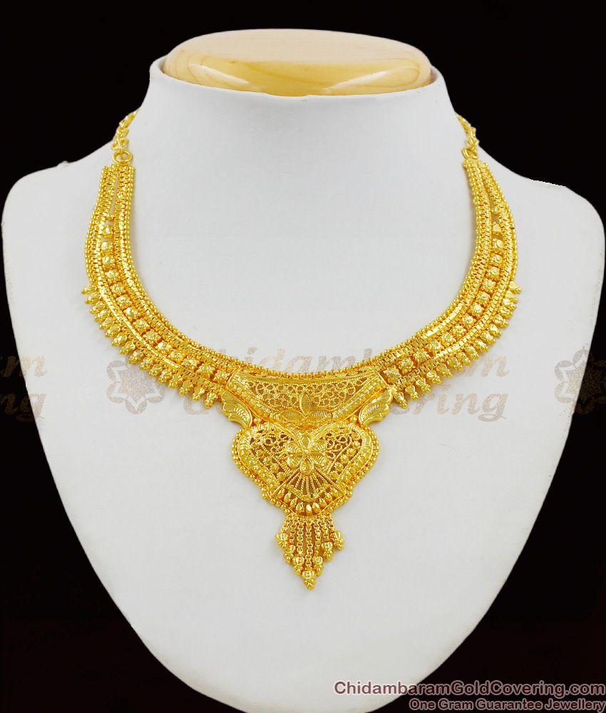 Plain Real Gold Calcutta Design Bridal Necklace Jewelry Latest Trend NCKN1321
