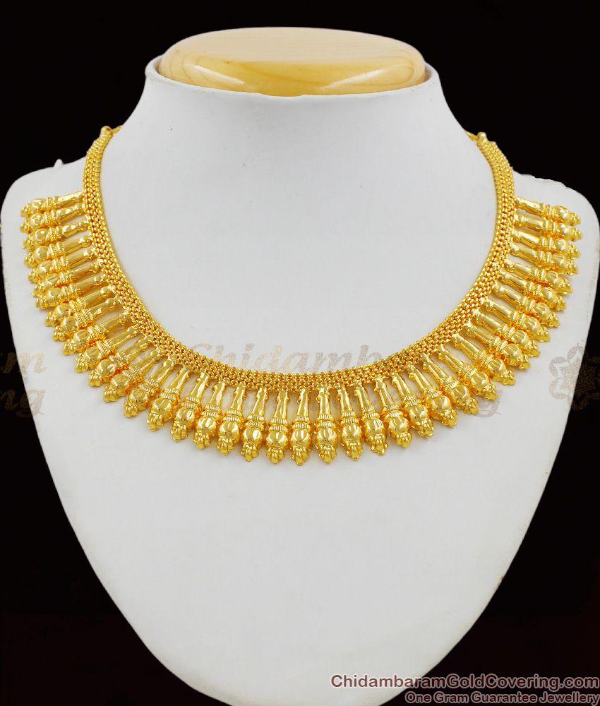 Kerala Gold Mullai Design Bridal Choker Pattern Necklace Collection NCKN1322