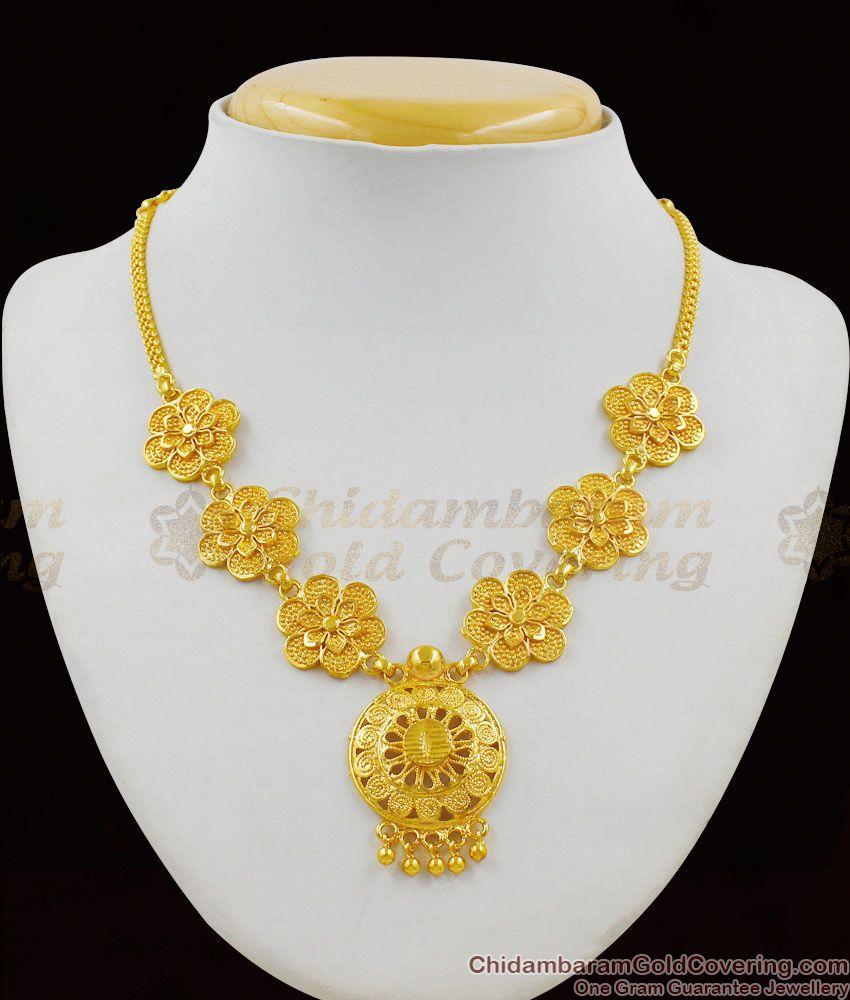 Admiring Flowers Model One Gram Gold Necklace New Fashion Design NCKN1346