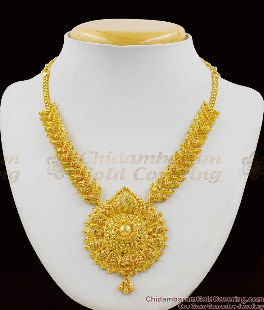 Grand Bridal Design Gold Plated Net Pattern Big Dollar Kerala Necklace Jewelry NCKN1357