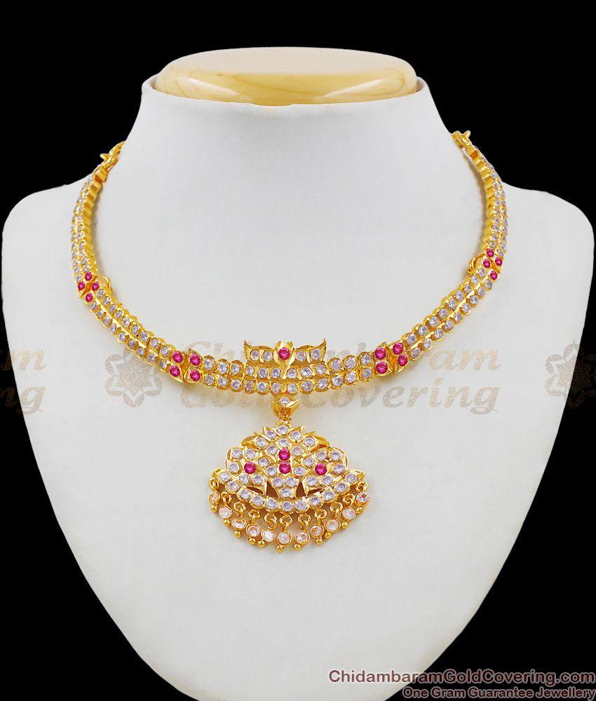 Beautiful Bat Design Top Dollar Choker Gold Ayimpon Multi Stone Necklace For Ladies NCKN1376