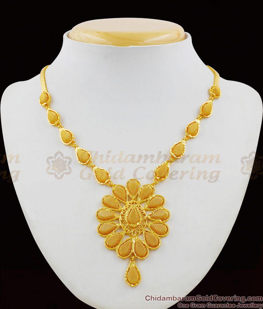 Bridal Flower Model Gold Net Pattern One Gram Necklace Guarantee Jewelry NCKN1397