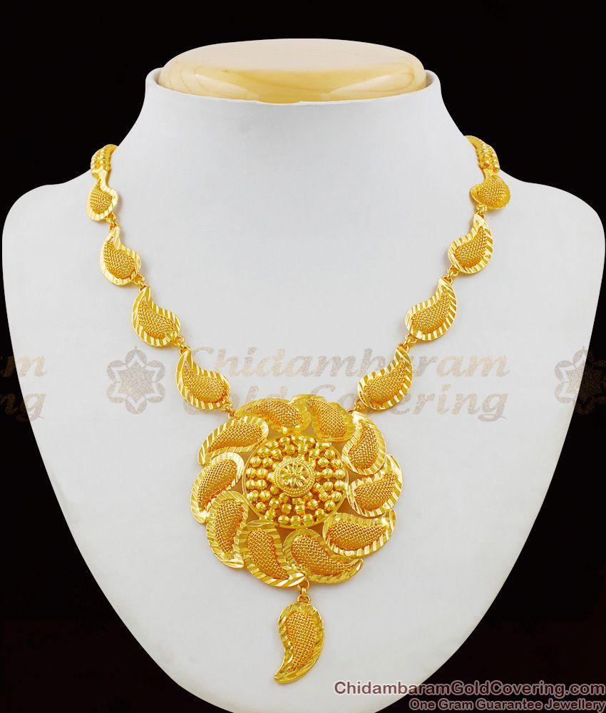 Grand Mango Design Gold Net Pattern One Gram Necklace Guarantee Jewelry NCKN1398