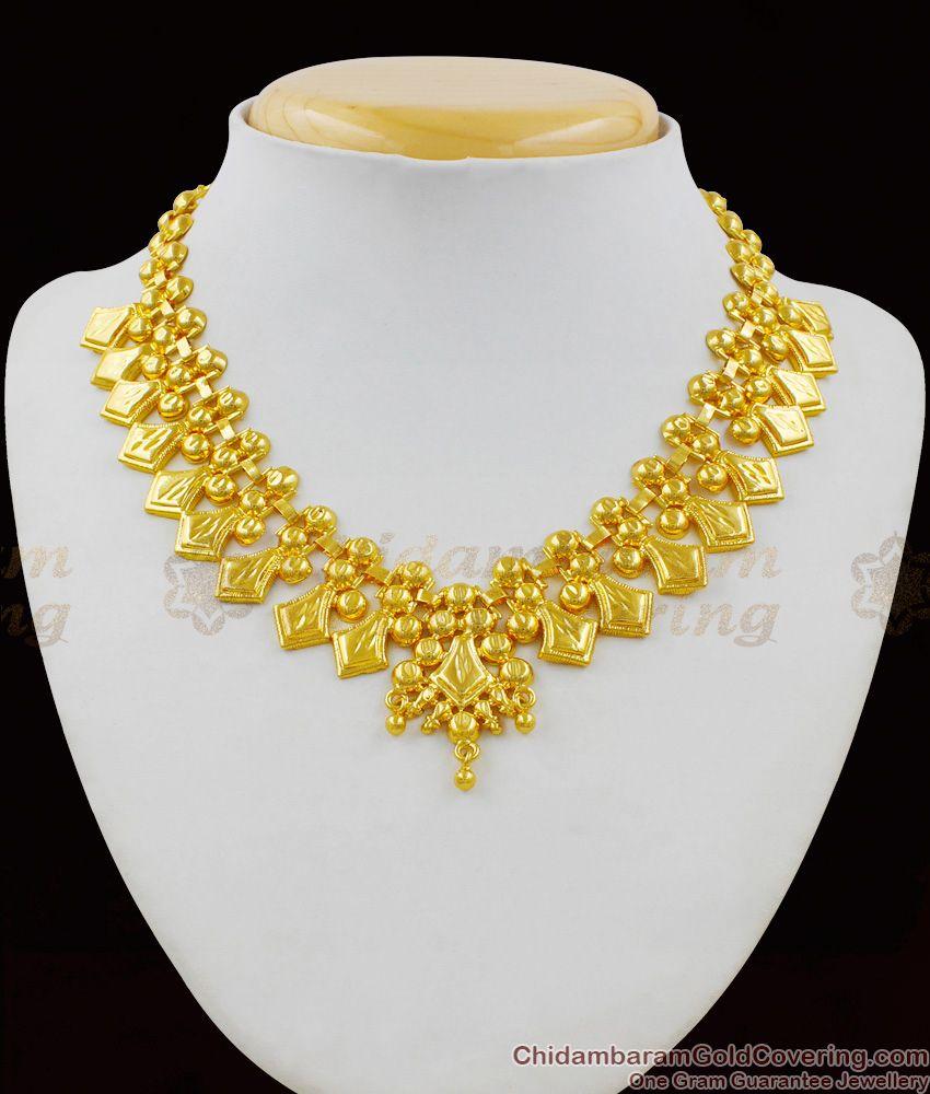 Pure Gold Anchor Model Beads Bridal Design Necklace With Guarantee NCKN1408
