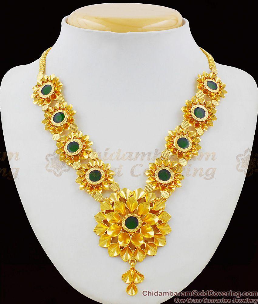 Sunflower Design Palakka Gold Necklace Kerala Design Bridal Wear Jewellery NCKN1411