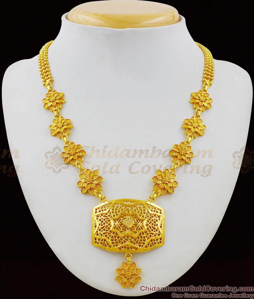Majestic Flower Pattern Big Dollar Gold Plated Necklace Guarantee Jewellery NCKN1412