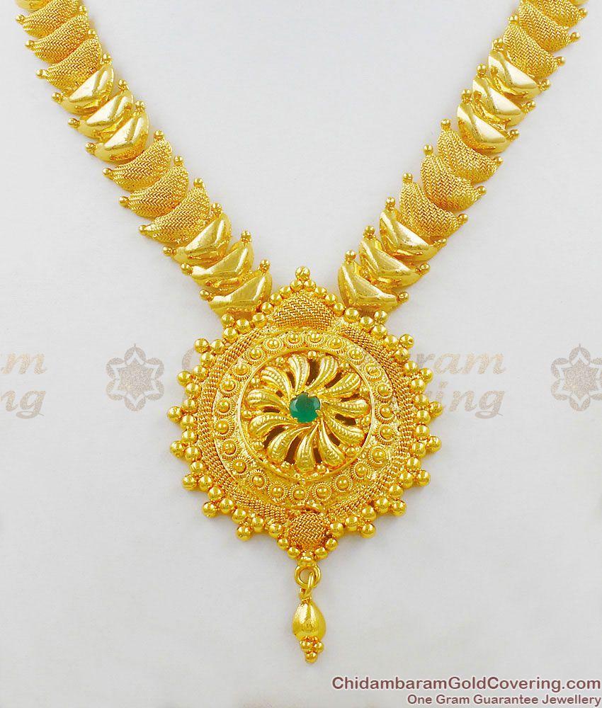 Dazzling Emerald Stone Bridal Wear Gold Plated Necklace Design NCKN1413