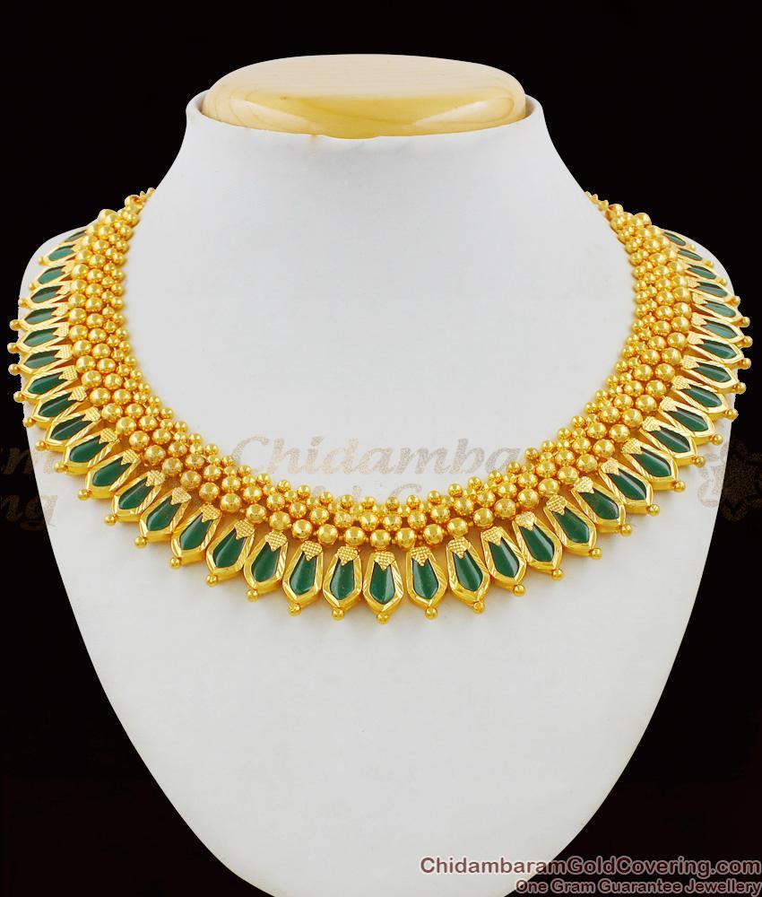 Grand Heavy First Quality Palakka Gold Necklace Choker Kerala Design Bridal Jewellery NCKN1425