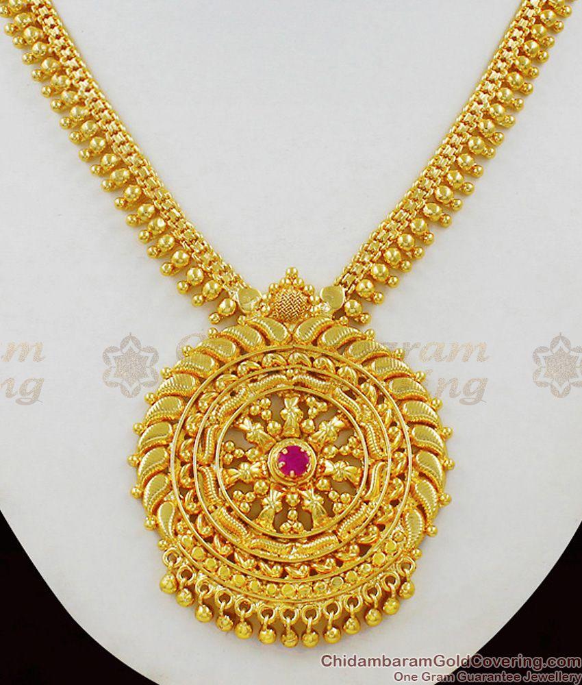 South Indian Traditional Kerala Model Dollar Necklace Set Real Gold Finish NCKN1466