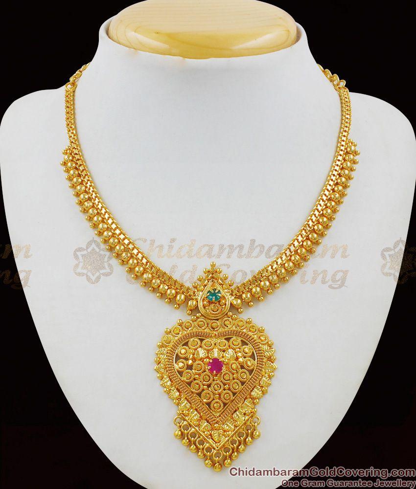 Heart Dollar Solid Bead Necklace Kerala Model One Gram Gold Finish NCKN1468