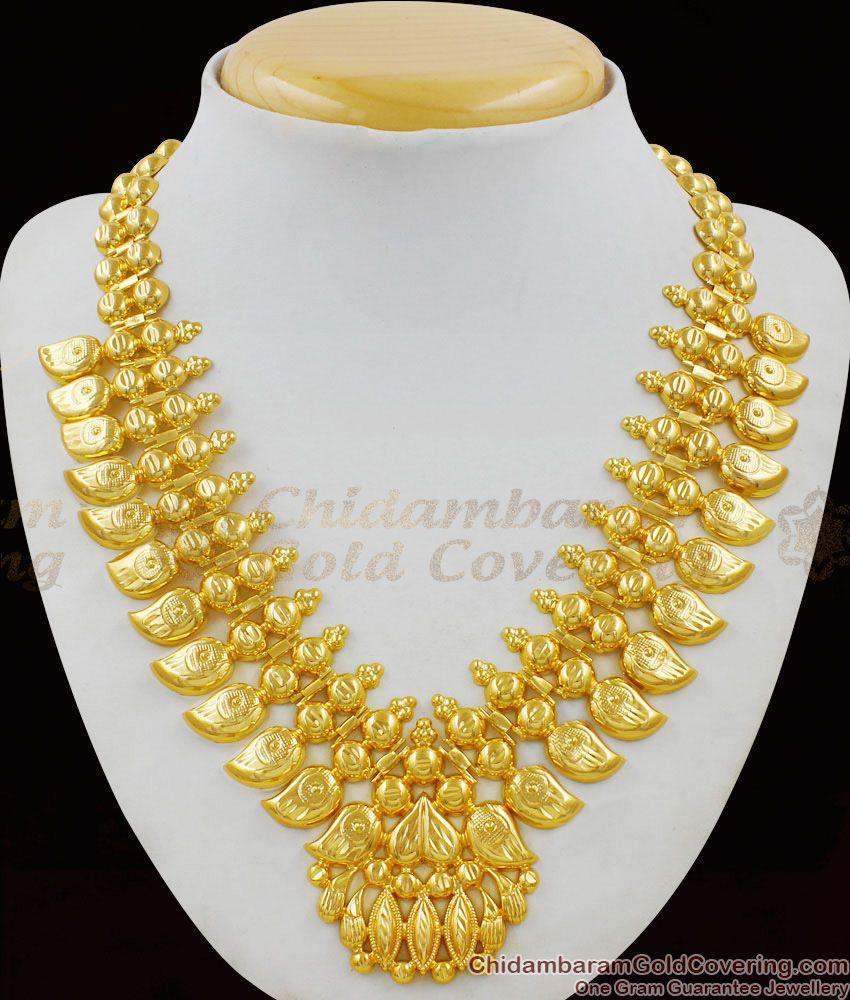 Traditional Mango Leaf Gold Necklace Kerala Bridal Jewelry Set NCKN1469