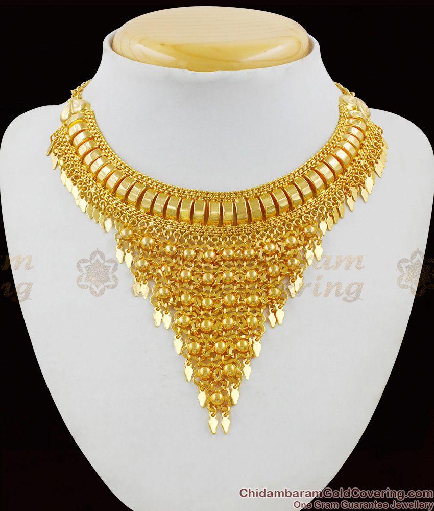 Stunning Bridal Design Gold Plated Kerala Choker Necklace NCKN1470
