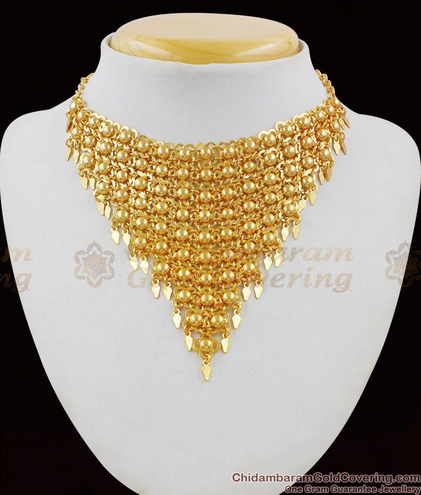 Glitering Gold Bridal Design Kerala Close Neck Net Choker Necklace NCKN1475