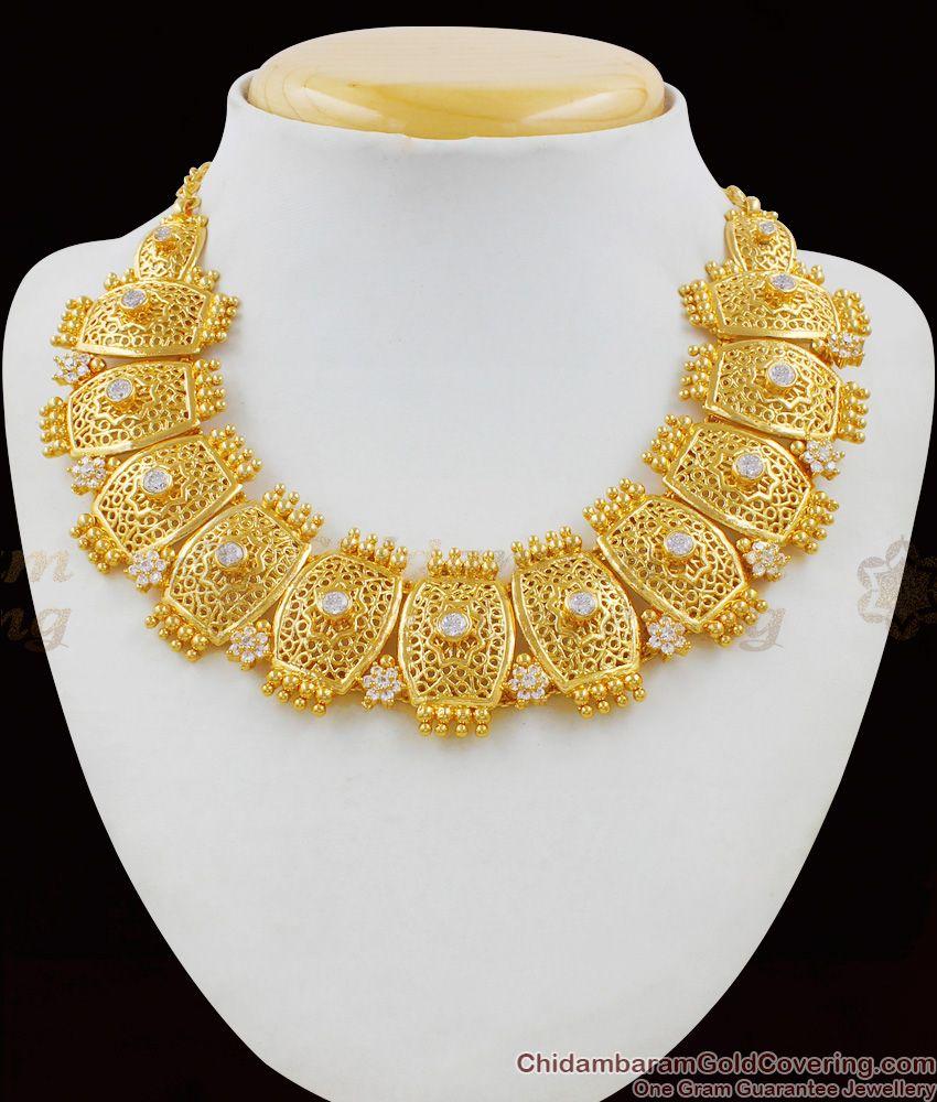 Elegant Real Gold Design Close Neck Choker Latest Bridal Necklace Collections NCKN1479