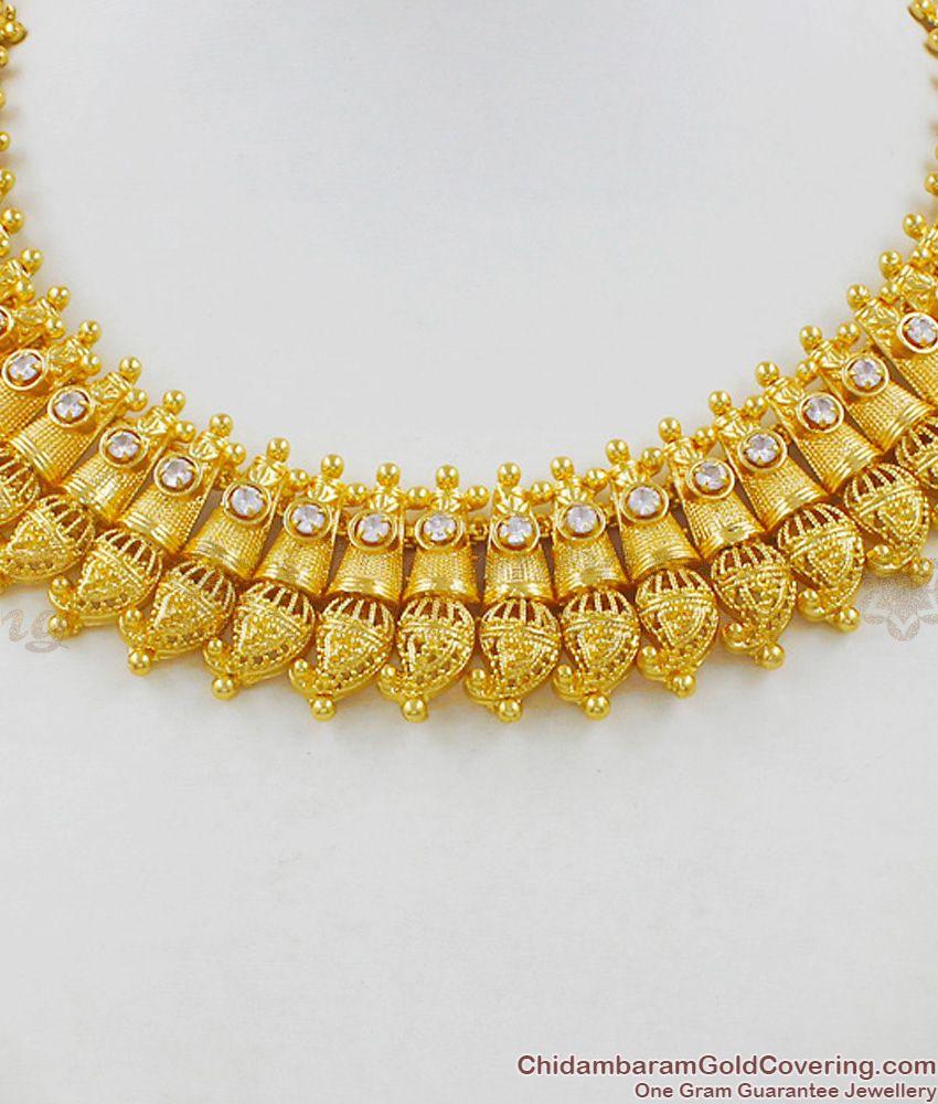 Unique Mango Leaf Close Neck Gold Choker Latest Bridal Necklace Collections NCKN1480