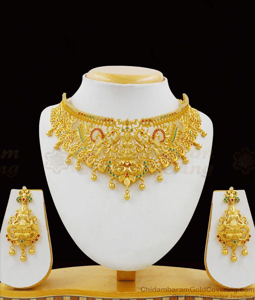 Grand Lakshmi Temple Jewelry Design Gold Choker Necklace Earrings With Stones Combo Set NCKN1620