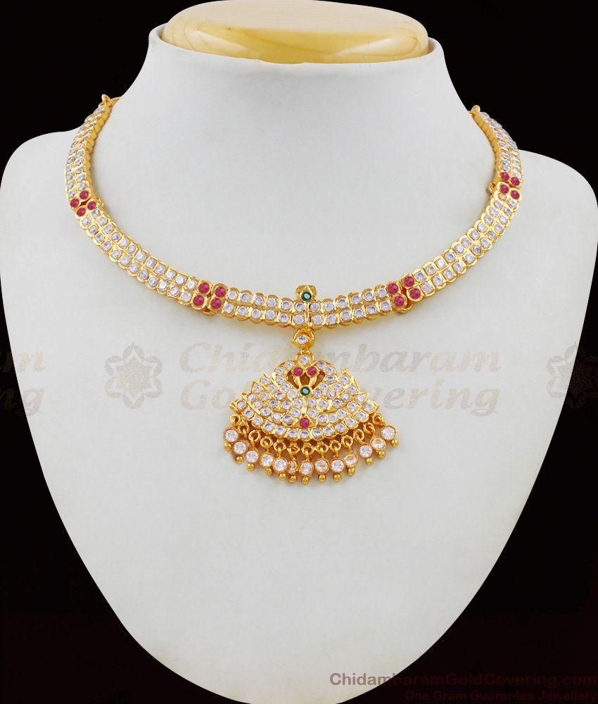 Five Metal Gold Multi Color Gati Stone Dollar Necklace Bridal Design Jewelry NCKN1626
