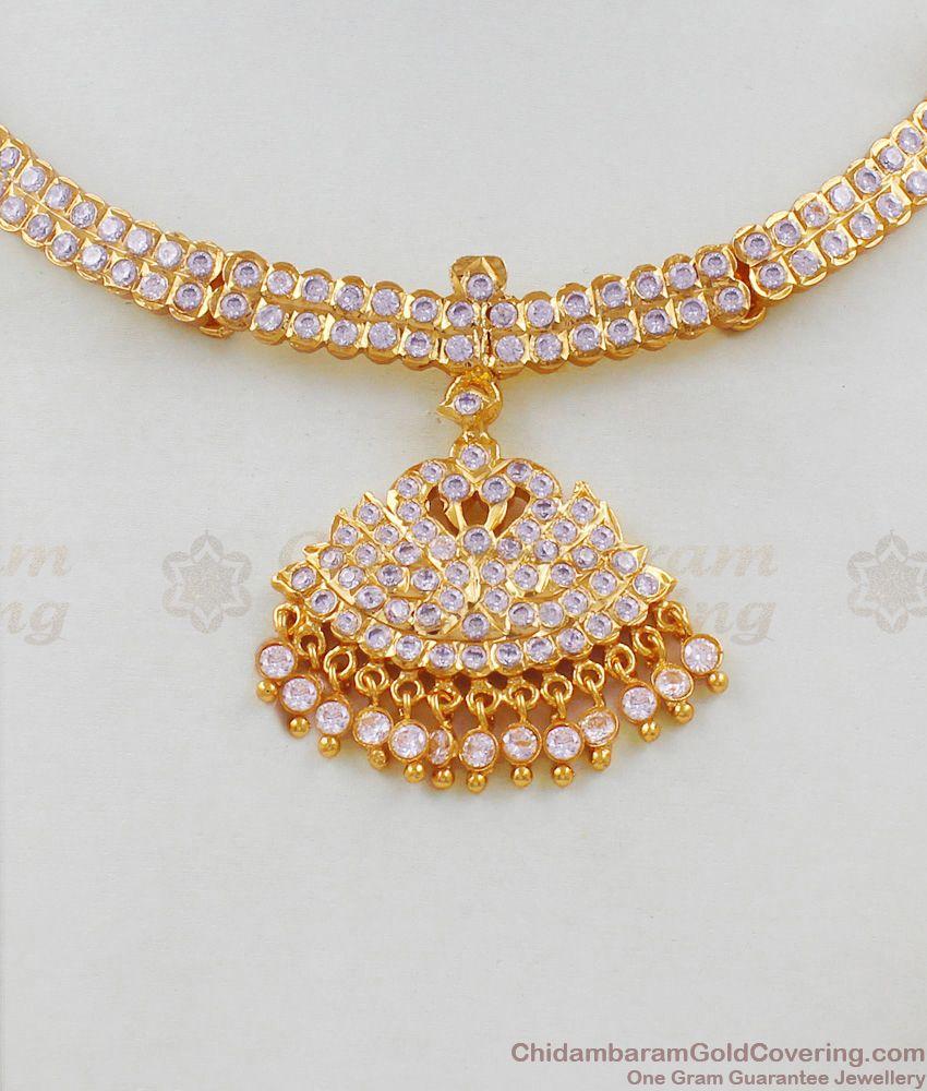 Swan Pattern Full White Gati Stones Traditional Five Metal Attigai With Beads NCKN1628