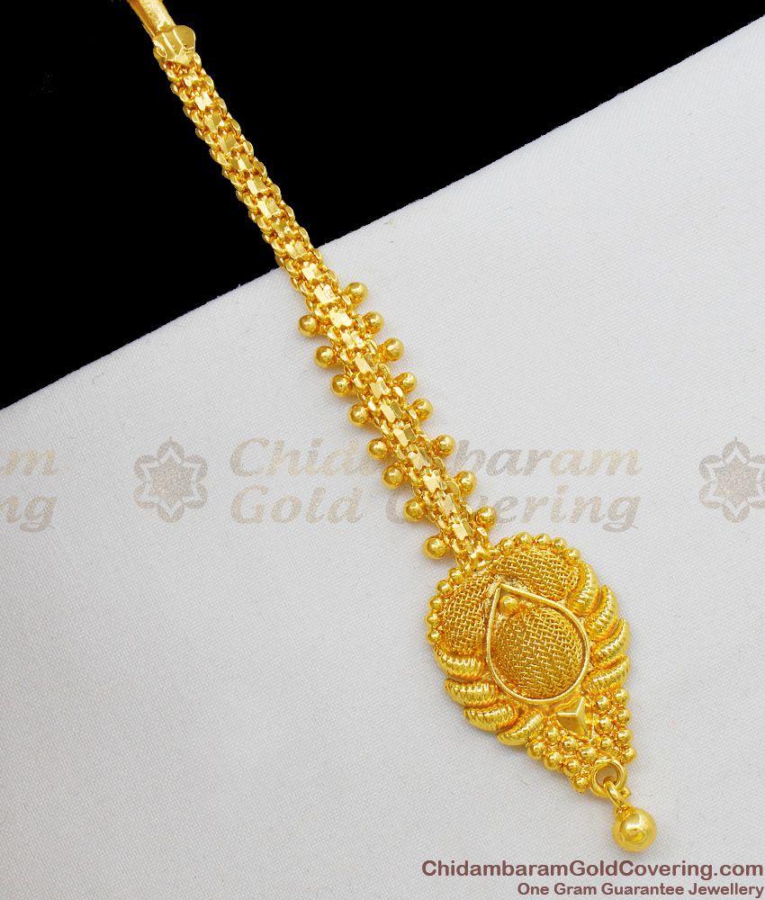 Plain Gold Plated Bridal Wear Papadi Billa Ornament For Ladies NCHT107