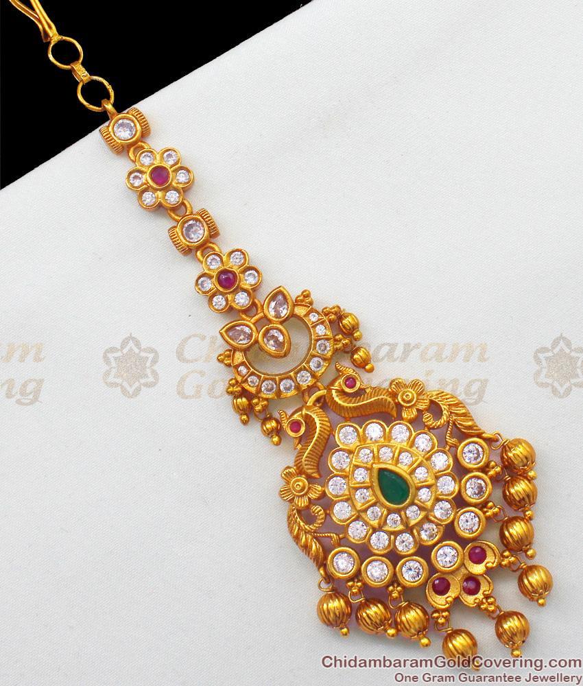 Premium Kundan Work Multi Stones Gold Tone Bridal Mang Patti Ornament NCHT139