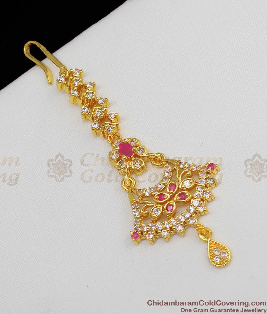 Bridal Design AD Ruby Stone Maang Tikka Gold Leaf Short Nethichutti NCHT46