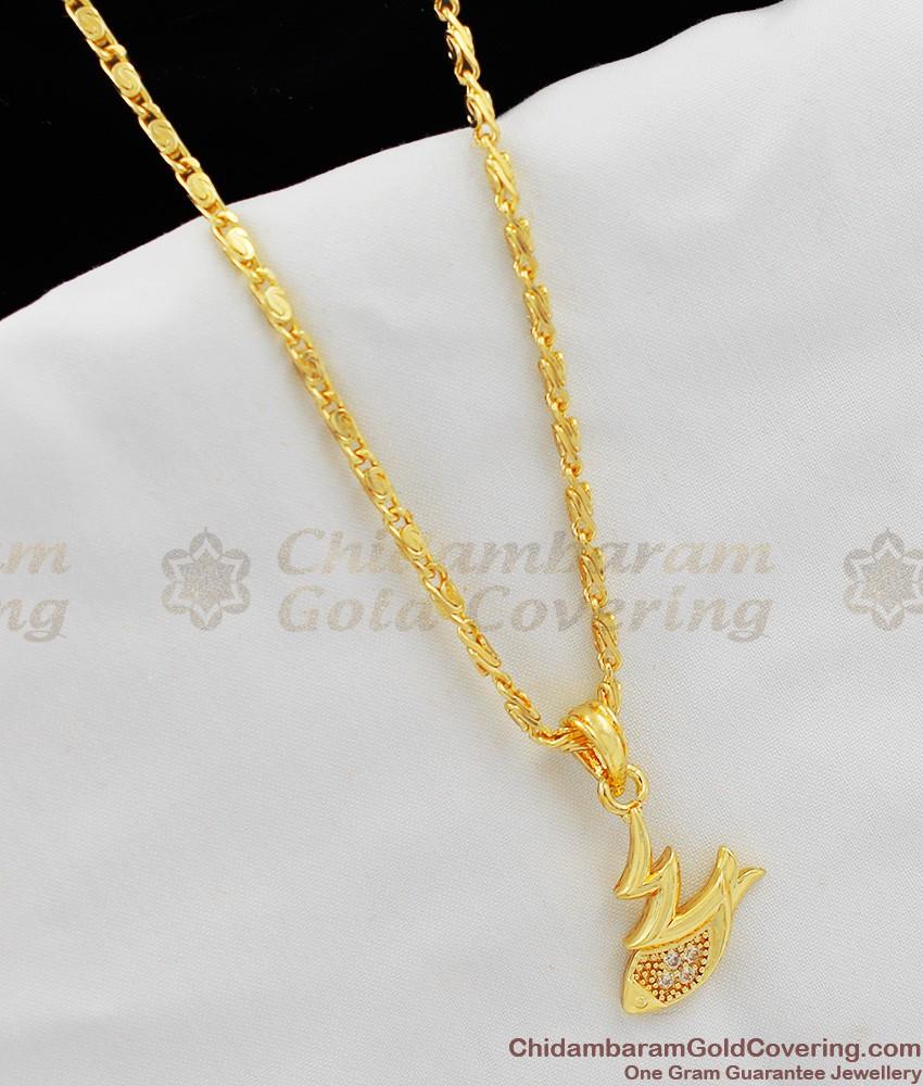 Fancy Gold White Stones Pendant For Girls SMDR217