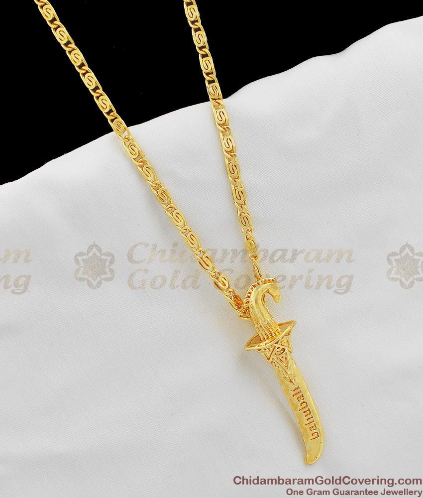 Bahubali Sword Design Gold Pendant Short Chain SMDR226