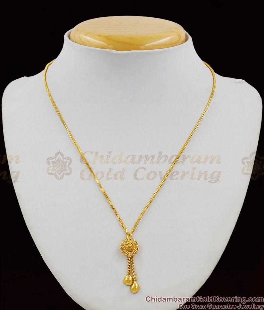 Stylish Flower Pattern Gold Plated Thin Chain Pendant Dollar Model SMDR297
