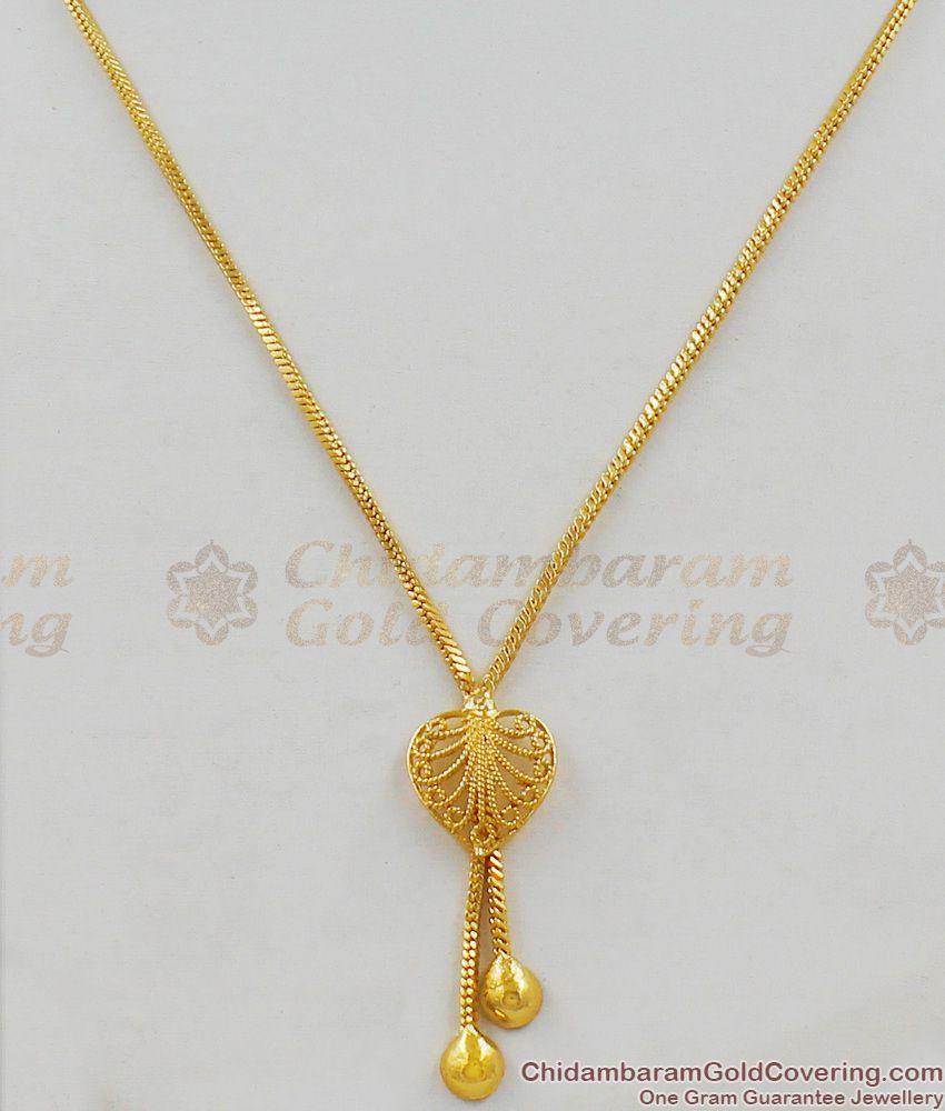 Valentines Gift Gold Tone Heart Design Pendant Short Chain For Girls SMDR300