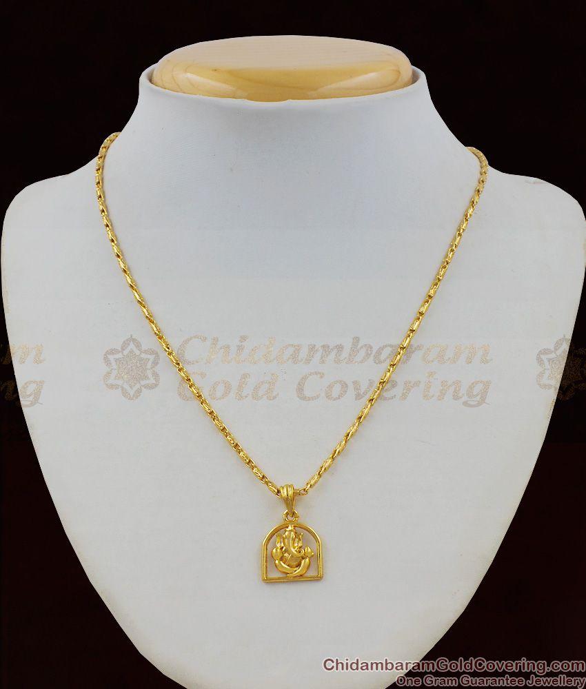 Ayangaran Vinayagar Pendant Short Chain Gold Plated Jewellery Collection SMDR402