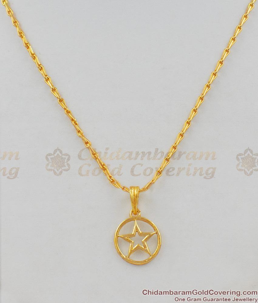 Golden Plain Star Design Short Chain Collection For Womens Buy Online SMDR409