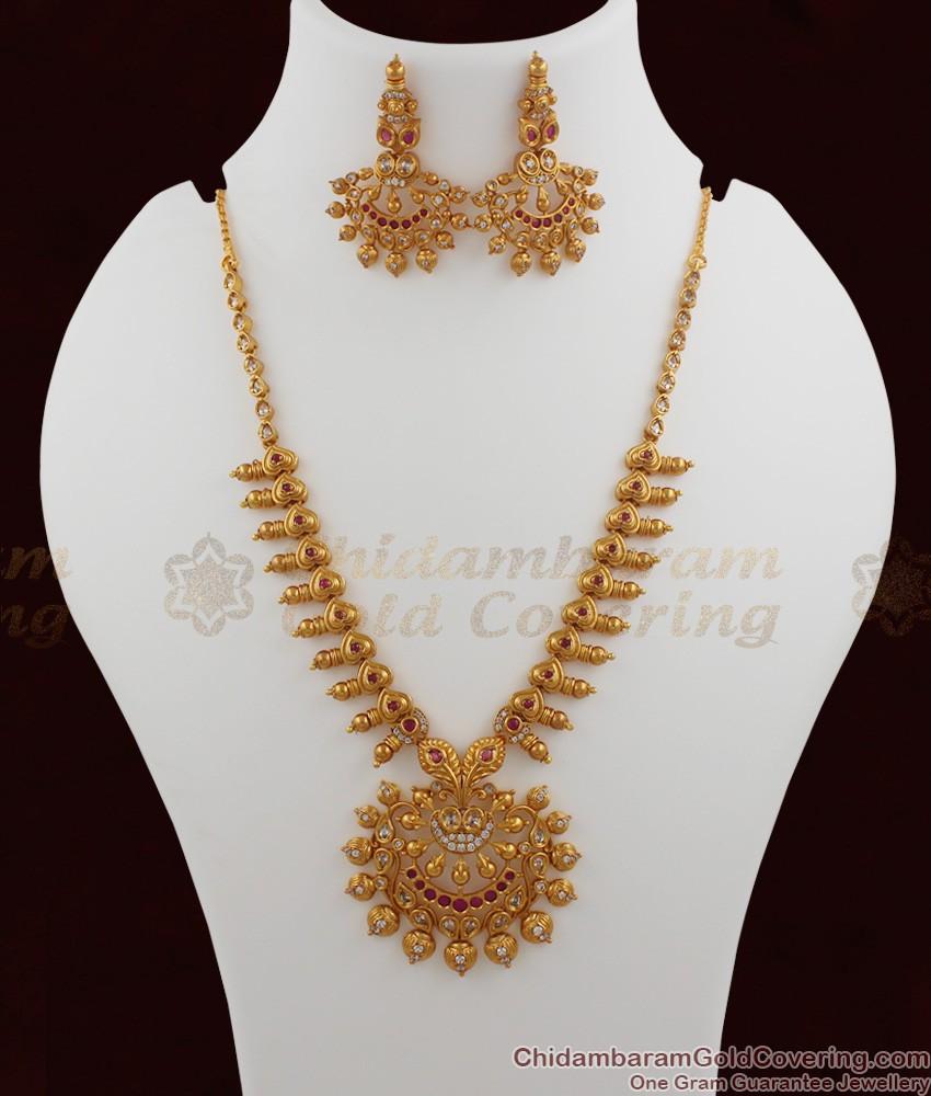 TNL1003 - Premium Antique Matt Finish Peacock Necklace Set Bridal Jewellery