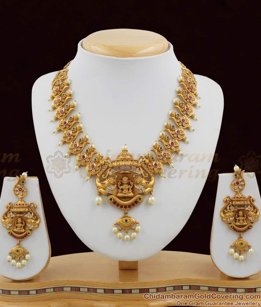 TNL1004 - Premium Antique Matt Finish GajaLakshmi Necklace Set Bridal Jewellery