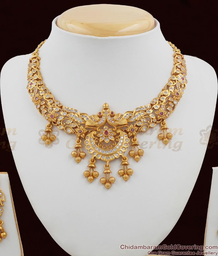 TNL1005 - Premium Antique Matt Finish Peacock Choker Set Bridal Jewellery