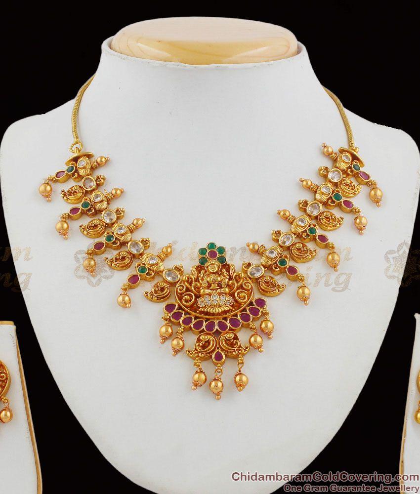 TNL1007 - Premium Finish Grand Temple Jewelry Lakshmi Peacock Design Nagas Antique Jewellery Set