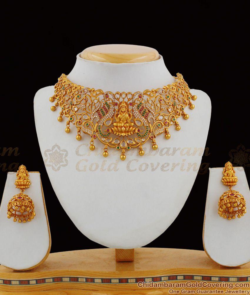 TNL1008 - Tribal Design Matt Touch Lakshmi Model Traditional Temple Jewelry Set With Earrings