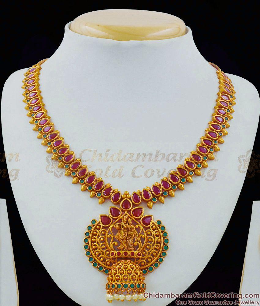 TNL1010 - Brilliant Artwork Premium Gold Antique Hand Crafted Radha Krishna Temple Necklace Set