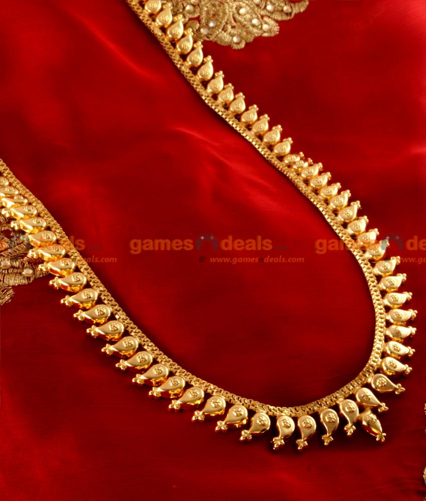 arrg05 traditional maanga malai haram design gold plated