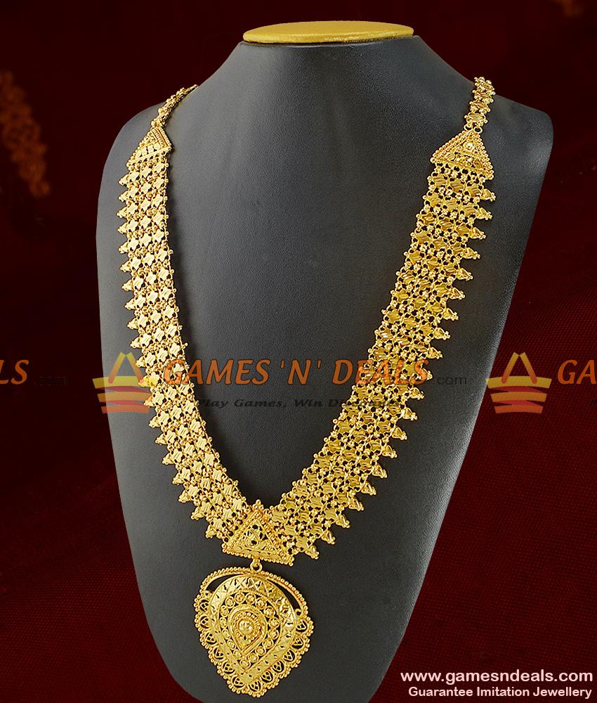 Grand Bridal Wear Heavy Gold Like Long Necklace Imitation Jewelry ...