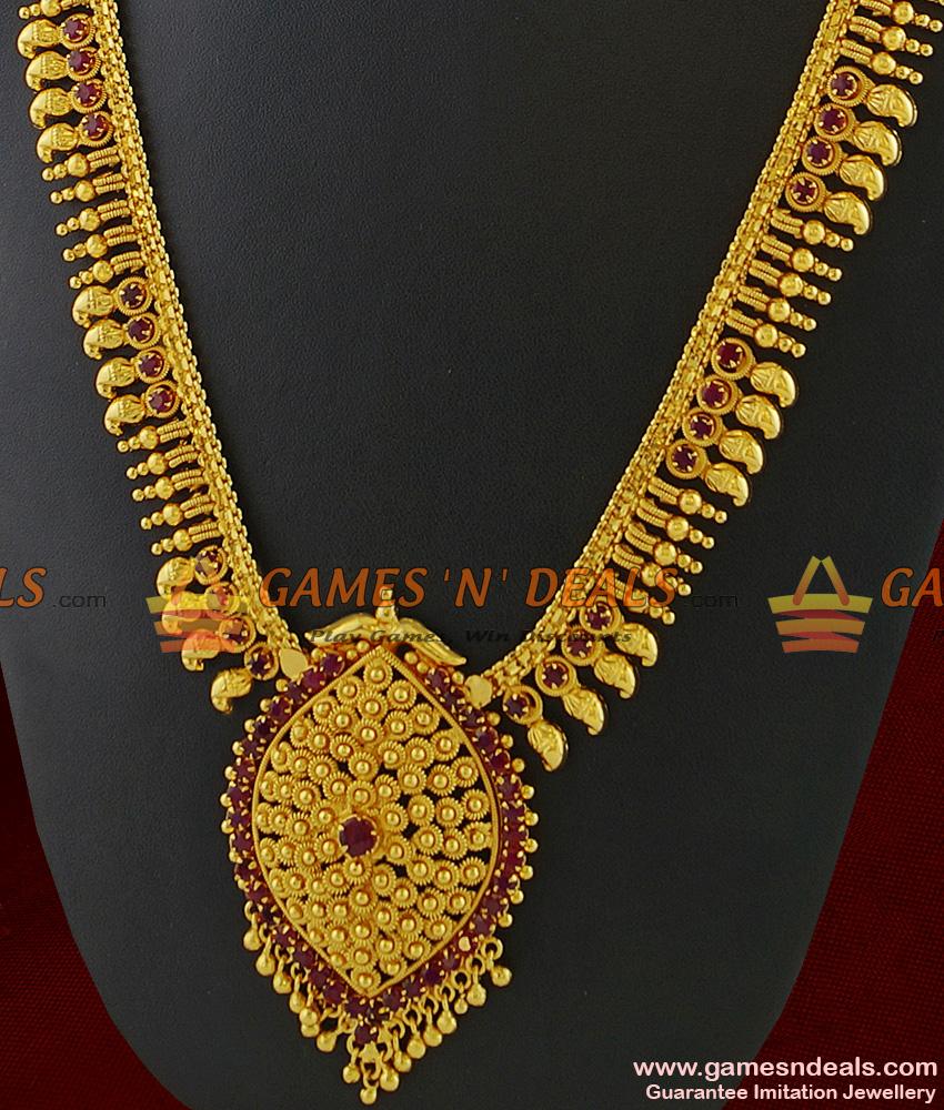 ARRG201 - Grand Bridal Wear Full Red Stone Flower Dollar Imitation Haaram