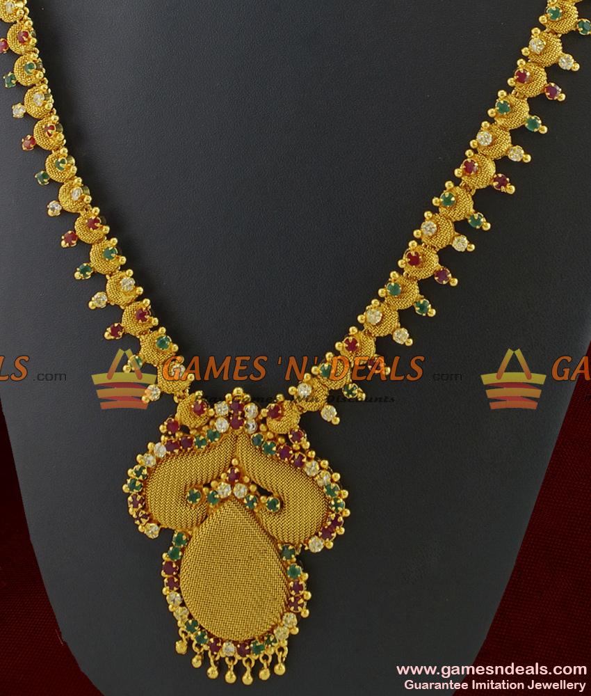 ARRG211 - Full AD Stone work Grand Bridal Wear Sparkling Dollar Imitation Haaram
