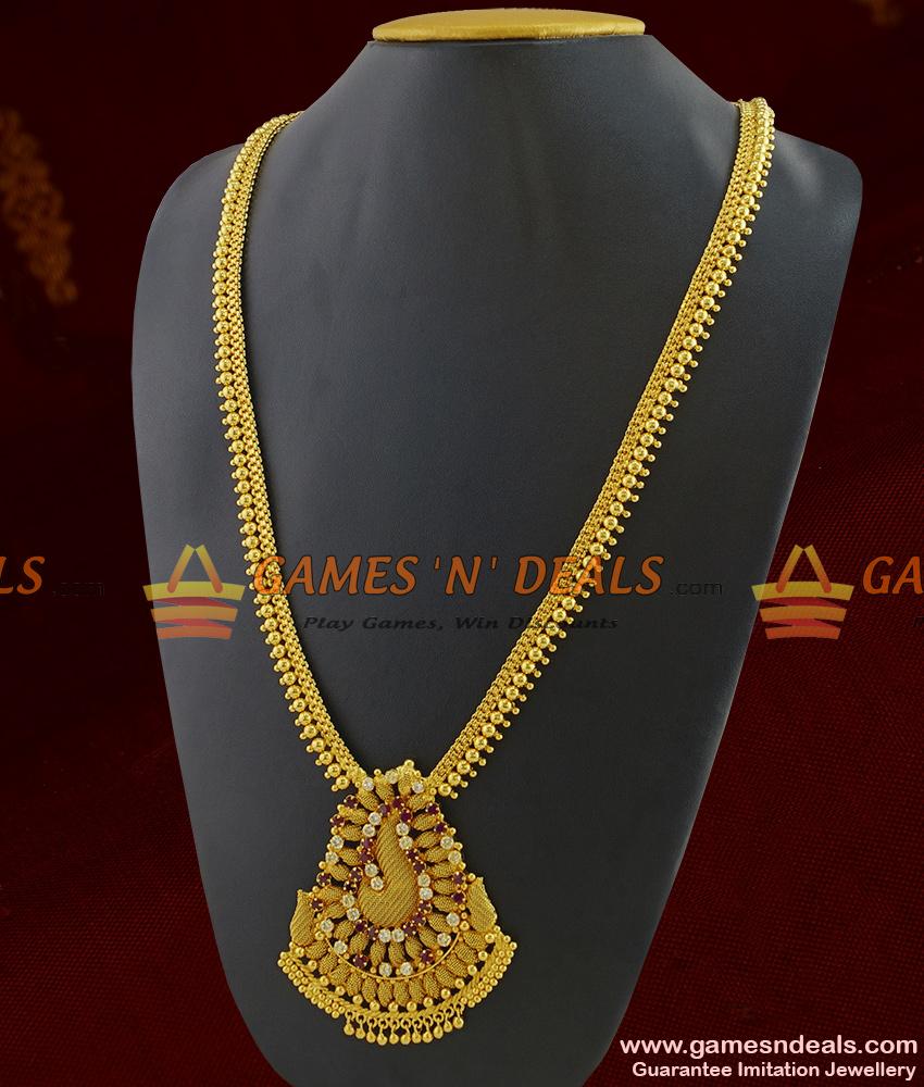 ARRG220 - Traditional Plain Beads Original Gold Like Design AD Stone Imitation Haaram