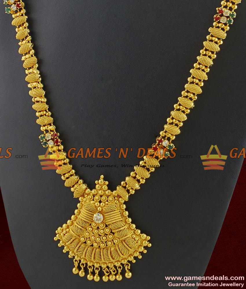 ARRG223 - Unique Fusion Type Thewa Jewelry Semi Precious AD Stones Imitation Haaram