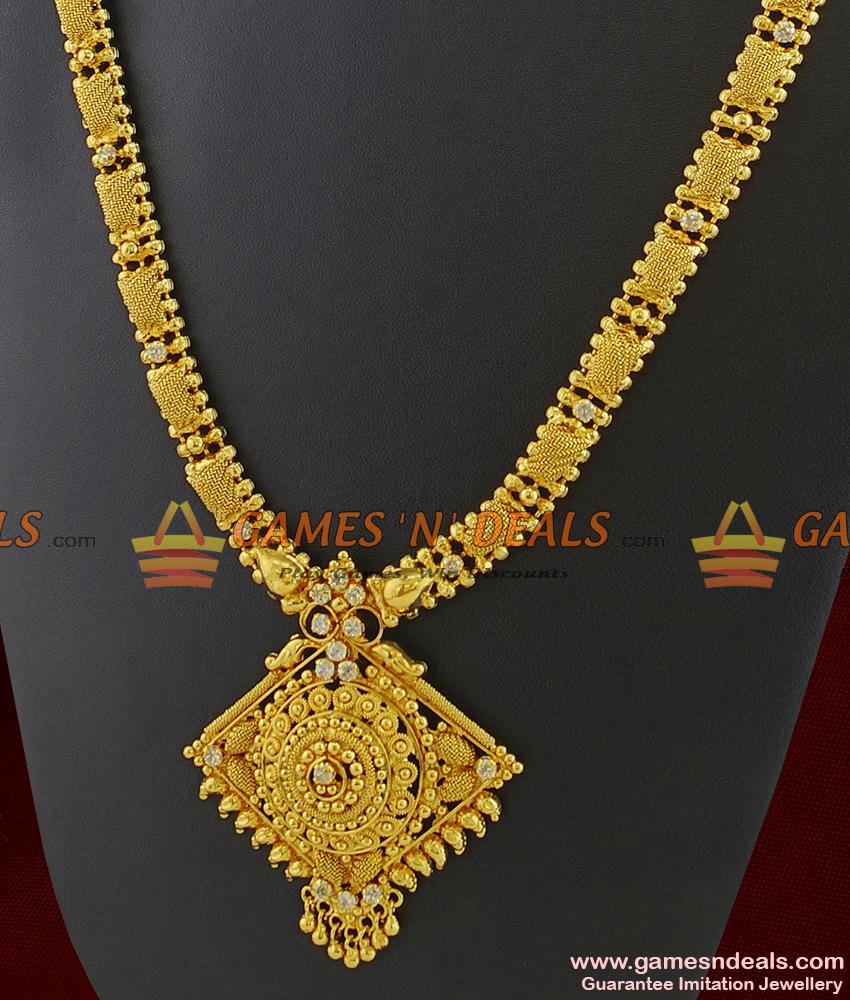 ARRG230 - Attractive White Semi Precious AD Stone Diamond Shape Dollar Imitation Haaram